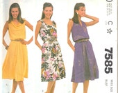 Vintage 1980's Women's Dress Pattern, McCall's 7585 Sewing Pattern, Size 20