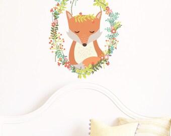 Woodland Fox Wreath Removable Wall Sticker   LSB0123CLR-LCN