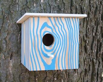 NEW BLUE / Modern Faux Wood Grain Birdhouse / Nest Box / Blue Natural / Bird House