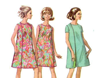 1960's Three Hole Wrap Dress Pattern Front or Back Sleeveless or Short Sleeve Easy Sew Simplicity 7484 Vintage Sewing Pattern Bust 34