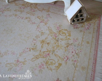 L Soft Pink/Yellow  Aubusson Fringed Rug for Dollhouse