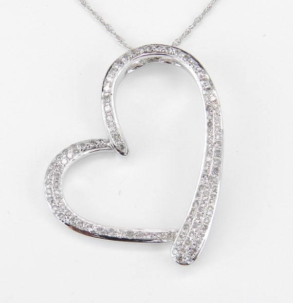 """RESERVED 14K White Gold .75 ct Open Diamond Heart Pendant Necklace Chain 18"""" Pave Set Wedding Gift"""