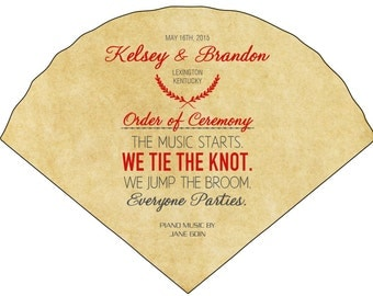 SET OF 25+ Fun & Whimsical Vintage Design Wedding Fan custom colors available
