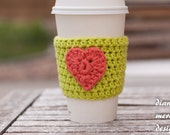 Valentine's Day Crochet Coffee Cup Cozy - Lime Green with Coral Heart - Coffee Sleeve