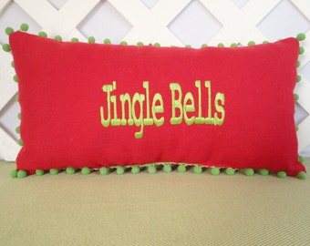 Jingle Bells Embroidered Christmas Pillow in Red and Green / Christmas Pillow / Red Pillow / Holiday Pillow / Holiday Decor / Accent Pillow