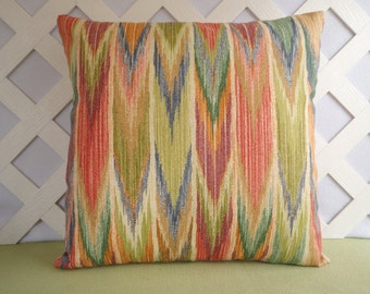 Ikat Pillow Cover, Outdoor Pillow Cover in Orange, Citron, Blue, Olive, Sienna, Ivory