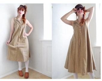 Vintage70s Corduroy Dress Sleeveless Sand colored Beige,  Maternity, Relaxed, Leasure, Mama,blouse shirt Dress
