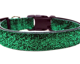 "Green Dog Collar 1"" Glitter Dog Collar"