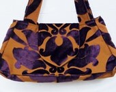 Boho Bag Purse Deep Purple Cut Velvet Handbag