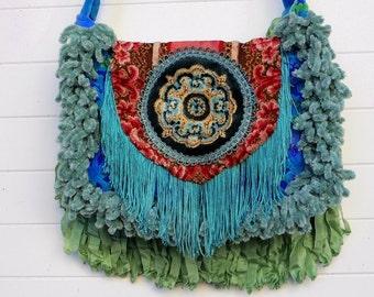 Victorian Bag Purse Vintage Bates Cut Velvet Handbag