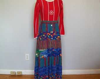 Vintage Bohemian Nautical Maxi Skirt- Button Front (( Size Medium to large))