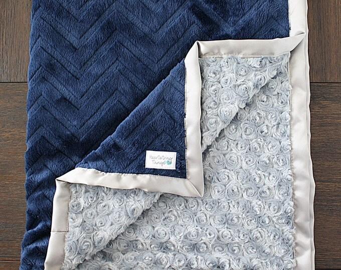 Minky Blanket, Baby boy, blanket for boy, navy and silver, soft blanket, custom minky, Navy and Grey, Embossed chevron, lovie, minky blanket