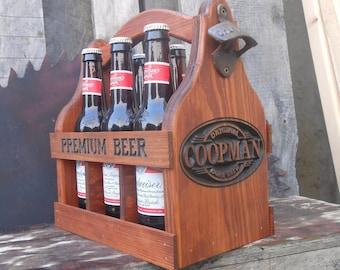 Wedding gift - Groomsmen gift - Wood Beer tote personalized - 5 year anniversary - Wooden Beer Carrier - Home Brew
