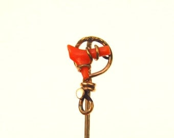 Antique Victorian Stick Pin Coral Rose Gold Fill