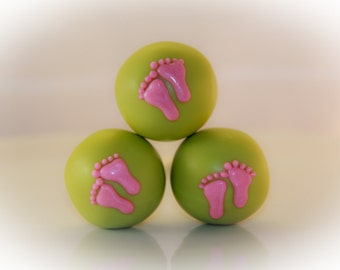 So Sweet Pops Happily Made Lime Green Pink Baby Feet Cake Pops
