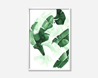 """20 x 30 """"Beverly III"""" Tropical Banana Palm Leaves Watercolor Giclee Fine Art Print Poster of Original Painting"""