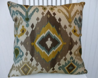 Brown, Gold, Blue  Pillow Cover Ikat Decorative Pillow Cover 18x18 or 20x20 or 22x22 Throw Pillow- Accent Pillow.