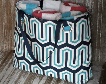 Beach Tote/Monogram Tote/Navy Aqua Tote/Personalized Gift/Weekender Bag/Vacation/Cruise/Pool/Extra Large Tote