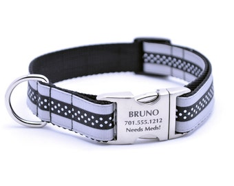 Mini Polka Dot Layered Stripe Laser Engraved Personalized Dog Collar - Silver/Black