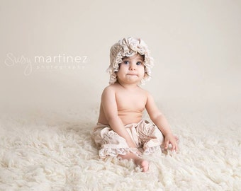 Ruffle Hat and Bloomer Set in Light Tan