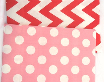 12 Valentine mix STanDing CHeVRoN and dot BaGs--red and pink-packaging-gifts-party favors-