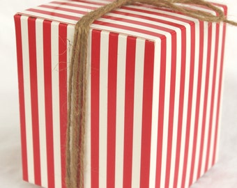 5 Red Stripe Box-4x4x4-DIY Crafts,party favors, gifts-5ct