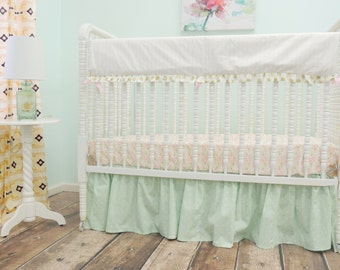Bumperless Cribset in Peach, Mint, and Gold with Aztec Theme