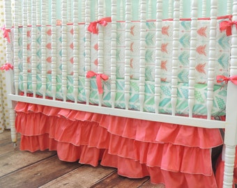Aqua and Coral Arrow Themed Crib Bedding with Gold Dots and Aqua Herringbone Sheet, Watercolor Arrow Bumper, Arrow Baby Bedding, Coral Skirt