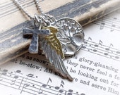 Roots wings and faith necklace