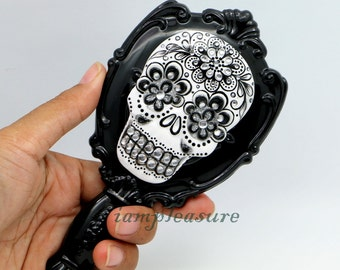 Mirror skull handmade day of dead