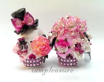 Skull pink rose weddings cake topper handmade bride and groom