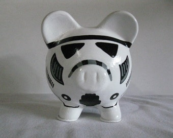 Personalized, Handpainted, Storm Trooper Piggy Bank - White w/Black Outlines - MADE TO ORDER