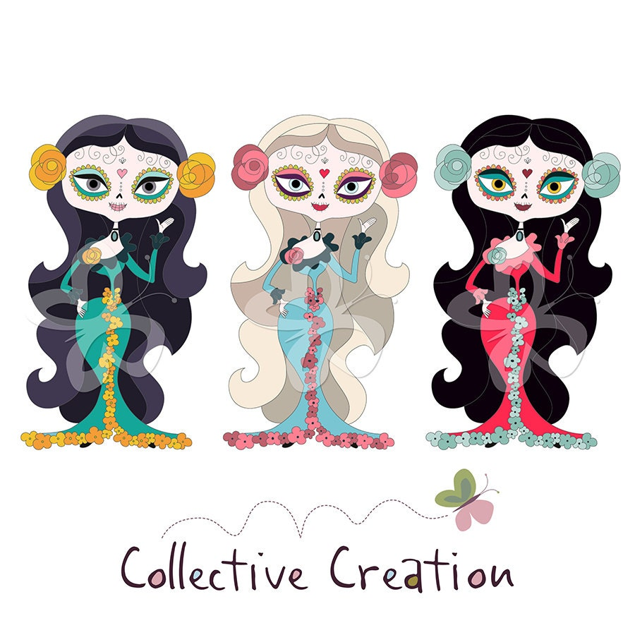 Day of the Dead Sugar Skull Girls Clip Art by ...