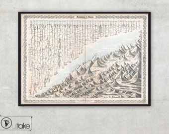 Chart of Mountains and Rivers, large wall map Archival Fine Art print, sizes up to 55 inch - 081