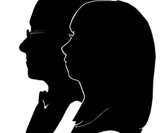 Custom Silhouette Portraits Double Subject