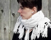 Fringed Crochet Scarf - Antique White or Any Color