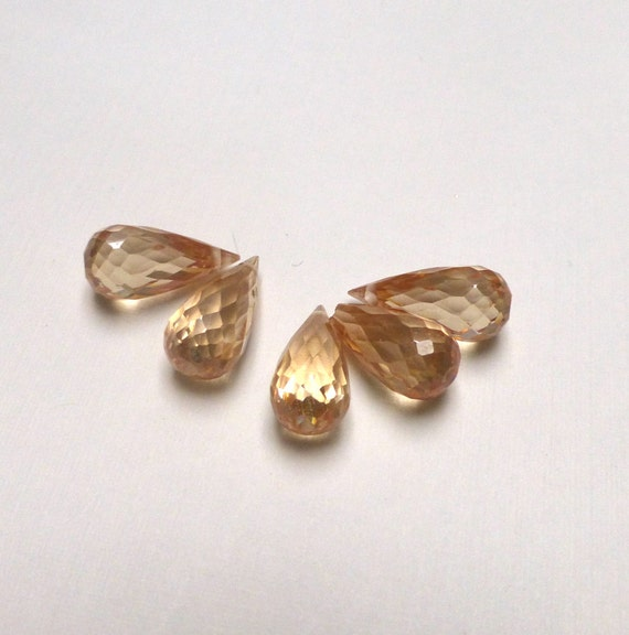 Cubic Zirconia Small Drop Beads. Champagne. Small Teardrop Beads. Faceted CZ. 15mm. One (1).