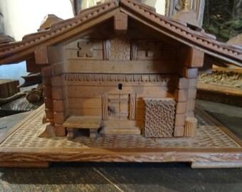 Swiss Chalet Wood Carved Keepsake Box