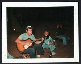 POLAROID Musician Man strums GUITAR & sings 4 Beach Campfire  friends Vintage color PHOTO