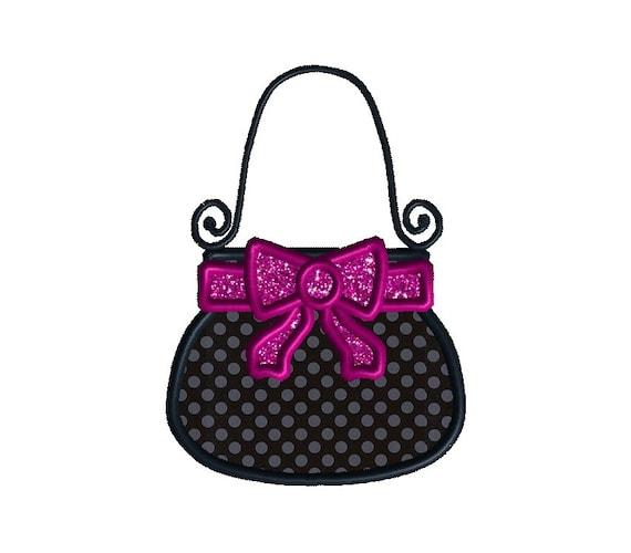 Bow Purse Applique Machine Embroidery Design-INSTANT DOWNLOAD
