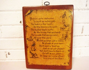 Vintage cowboy wooden plaque quote ranch decor welcome