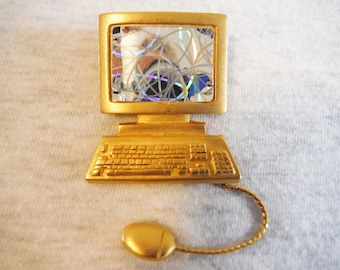 Vintage computer brooch articulated mouse JJ retro geek jewelry gold tone
