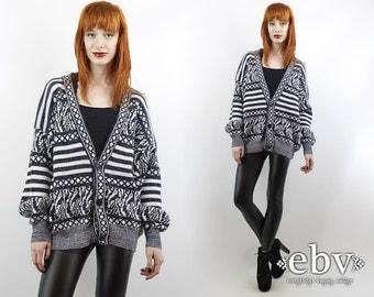 Vintage 90s Black + White Grandpa Cardigan S M L Oversized Knit Oversized Cardigan Oversized Sweater Striped Cardigan