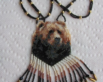 Hand Beaded Grizzly Bear necklace