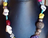 Chunky Multi Color Magnesite and Bling necklace