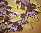 Cloth Placemats - Brown Garden Lantern Print - Set of 4 Cotton Placemats - Mother's Day Gift, Housewarming Gift, Wedding Gift,