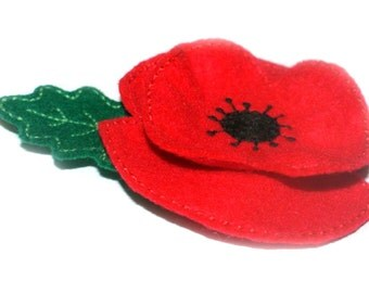 2 X Handmade Red Felt Poppy Brooches with leaf,  Remembrance Day Poppy Appeal