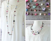 Colorful Beaded Necklace: Pink, Blue, Purple, Green, and Brown Shell and Glass Jewelry with Antiqued Brass, Layering Style