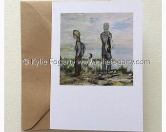 Fine Art Greeting Card, A6 Sized, Beach, Contemporary Landscape, Figurative, Mountain, Seascape, Kylie Fogarty, Blank Greeting Card