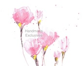 Handpainted Greeting card,  Watercolor Card, Spring flower, pink, Magnolias, Easter, valentine's day, Blank, under 10, Handmade Exclusives